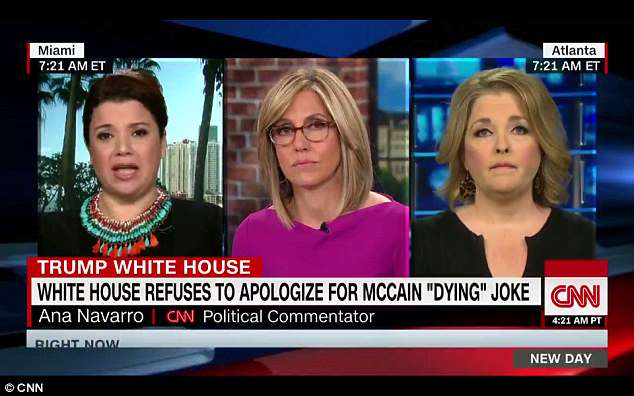 Anti-Trump political talking-head Ana Navarro (left) said Tuesday on CNN that the White House is upset that John McCain hasn't died of cancer yet