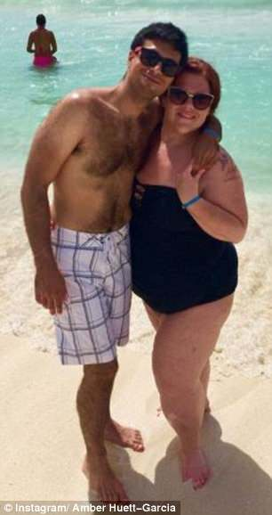 Fighter: The mom-of-one  once weighed 400 pounds but has lost almost 200 pounds since undergoing bariatric surgery in 2010, pictured right with husband Matt