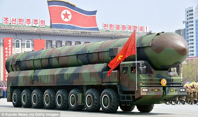 This photo from 2017 shows a vehicle carrying what appears to be an intercontinental ballistic missile during a military parade at Kim Il Sung Square in Pyongyang, North Korea