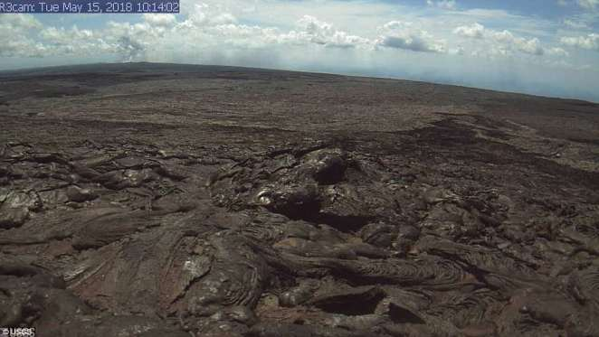This image is from a research camera positioned on the northwest flank showing the active flow field