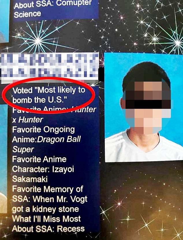 The parents of a student at an Arizona charter middle school were shocked to open the 8th grade yearbook and find that one of the graduates with a Muslim first name was deemed 'most likely to bomb the U.S'