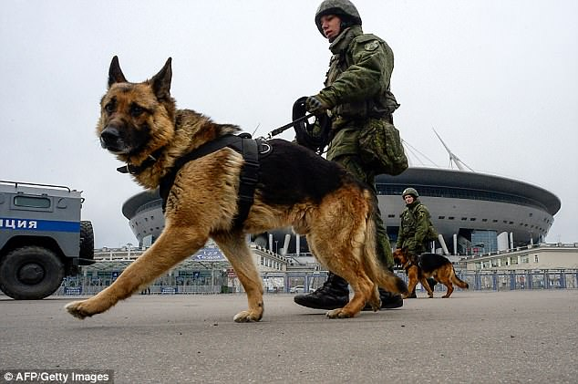 Gold Commander Deputy Chief Constable Mark Roberts described security around World Cup events in Russia as 'off the scale' (pictured isSaint-Petersburg Stadium ahead of the tournament)