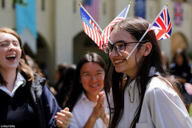 Many of the students were happy to get in the spirit for the occasion, sporting tiaras or decorating themselves with both British and American flags