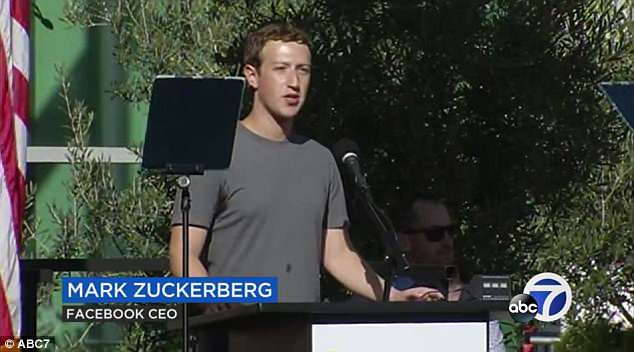 Zuckerberg is seen giving a speech outside the hospital after he and his spouse Priscilla donated $75million