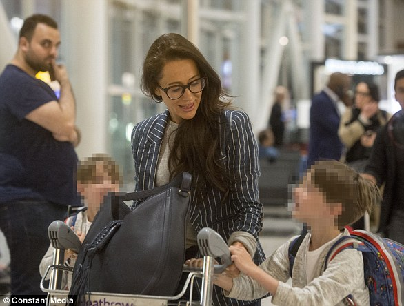 The 37-year-old glossy Canadian socialite touched down at Heathrow Airport this morning