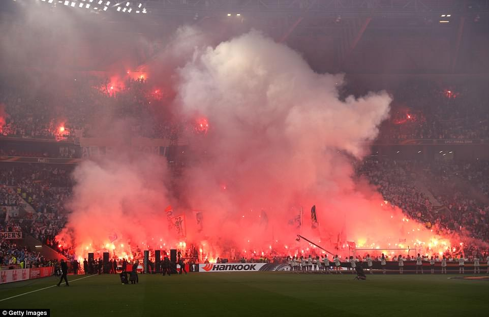 Marseille fans were in their seats at the Stade de Lyon well before kick-off and let off dozens of flairs as the players came out
