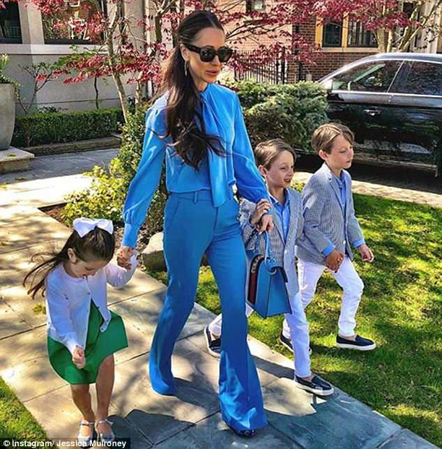 Crew: It comes after Kensington Palace announced that Jessica's childrenIvy, four, and twins Brian and John, both seven, (pictured) will be among Meghan's bridesmaids and page boys