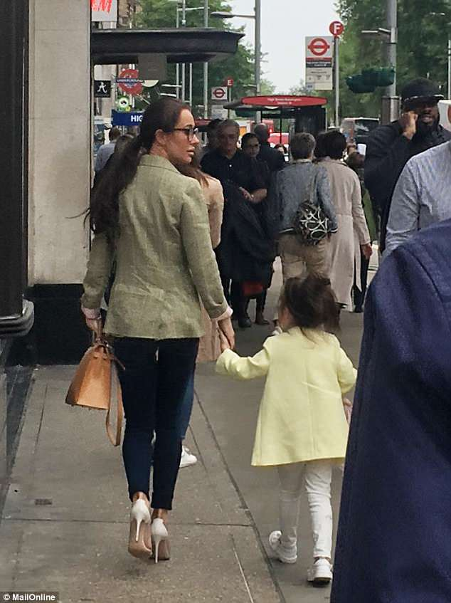 Spotted: Meghan's friend and stylist Jessica Mulroney was spotted in Kensington ahead of the wedding, along with four-year-old daughter Ivy, who was named today as a bridesmaid