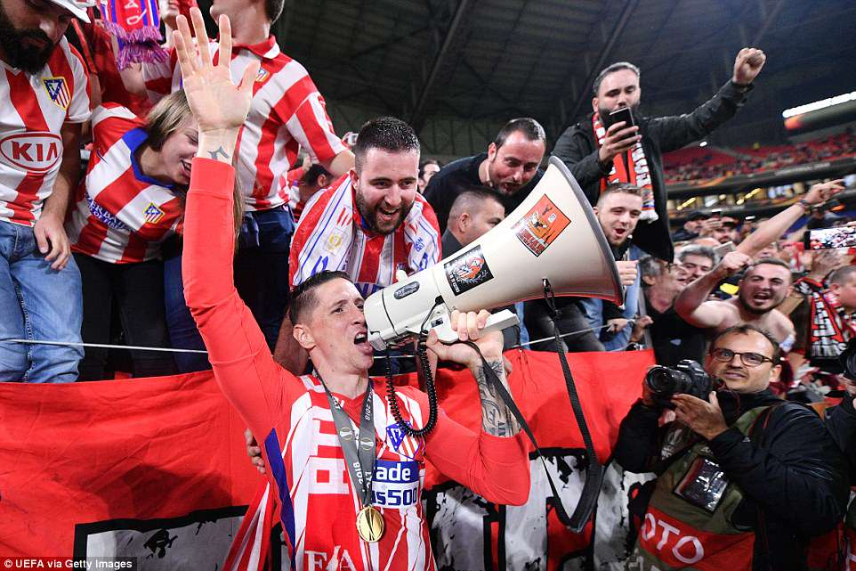 The veteran striker celebrated with fans as he wound down his Atletico  career in the best possible style on Wednesday