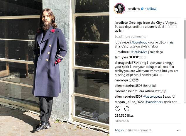 The same day he was spotted out with the model in February Leto took to his Instagram page writing: 'Greetings from the City of Angels. Ps two days until the album is due!'