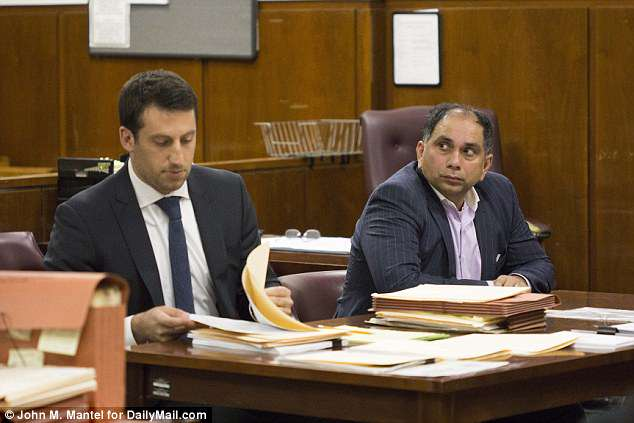 Tripathy, right, accused of sexual assault, with lawyer Alex Spiro in this DailyMail.com photo, January 30, 2017
