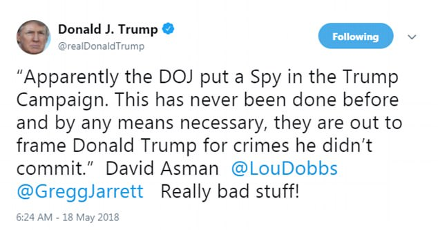 Earlier he had promoted the view of a Fox Business Channel anchor who said the Justice Department was 'out to frame' him