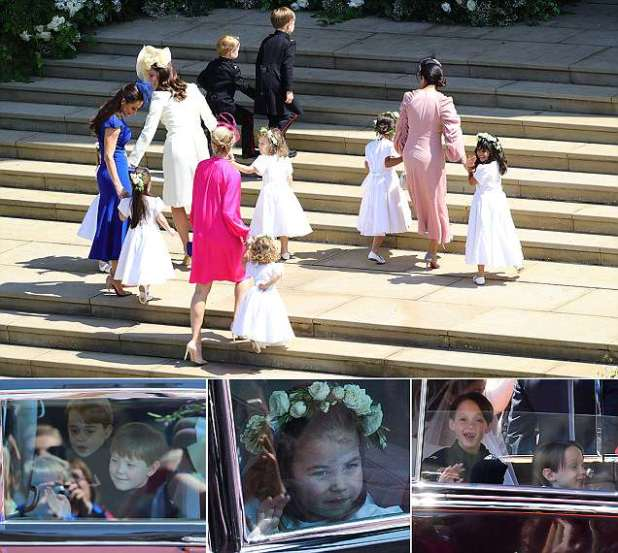 Kate Middleton arrives with Meghan Markle's flower girls