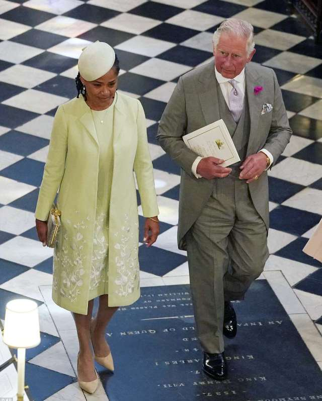 The pair were then seen leaving the chapel together before heading to St George's Hall where the Queen will host a lunch
