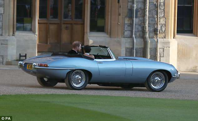 The two left Windsor Castle in the light blue stunner as they headed to their reception at Frogmore House, a 17th-century venue in the grounds of Windsor Castle