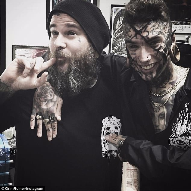 Part of Bramble's (pictured right) modification has been covering his face in tattoos done by renowned abstract tattooist Ran Maclurkin (pictured left)