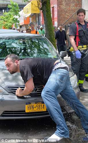 This man tried to escape from paramedics and was stumbling and tripping overs cars to do so