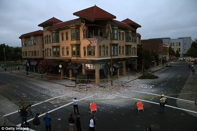 A building is seen destroyed following a reported 6.0 earthquake on August 24, 2014 in Napa, California. A 6.0 earthquake rocked the San Francisco Bay Area shortly after 3:00 am on Sunday morning causing damage to buildings and sending at least 70 people to a hospital