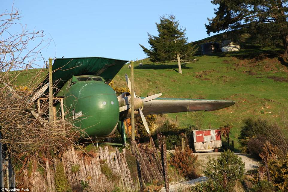 Woodlyn Park estate in Waitomo, New Zealand, is home to a variety of unusual lodging experiences for visitors, including a Bristol Freighter plane