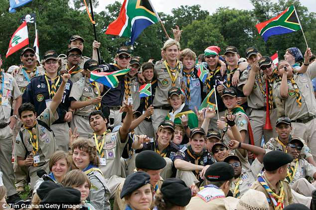 Rules now require that the host organization of the World Scout Jamboree provide condoms at a 'number of locations' on the event's site for staff and participants. Pictured are Scouts from South Africa and other countries at the 2007 Jamboree