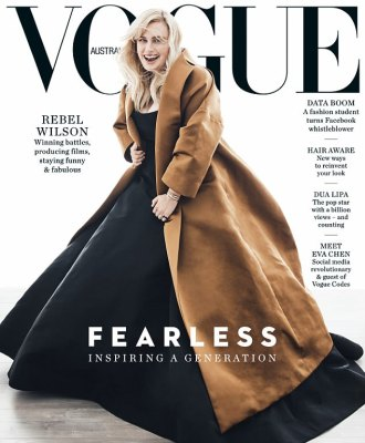 Rebel Wilson pose on the cover of Vogue Australia