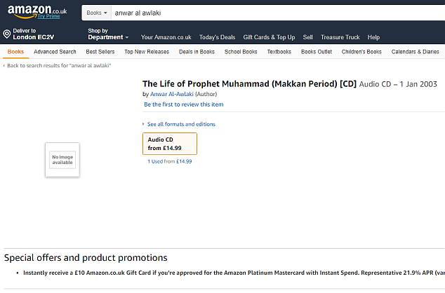 The entry on Amazon for an audio lecture by Al Qaeda hate preacher Anwar Al-Awlaki