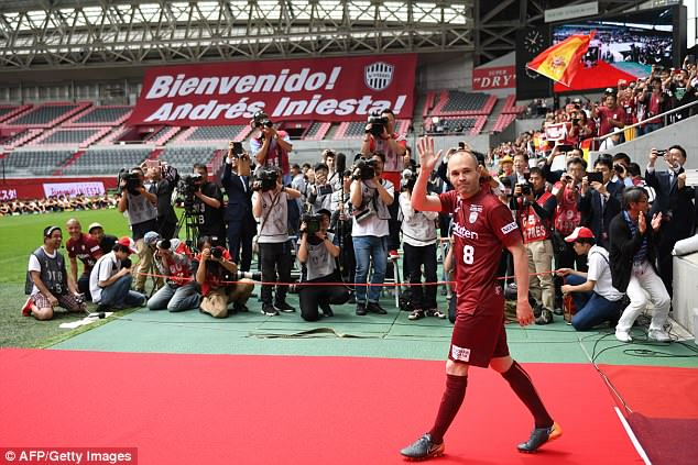 Andres Iniesta was unveiled to Vissel Kobe's fans on Saturday following move to the club