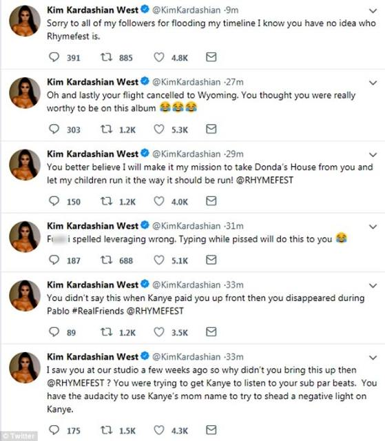 Kardashian unleased a slew of tweets directed at Rhymefest on Saturday night, after the Donda's House co-founder claimed West said 'f**k the youth of Chicago'