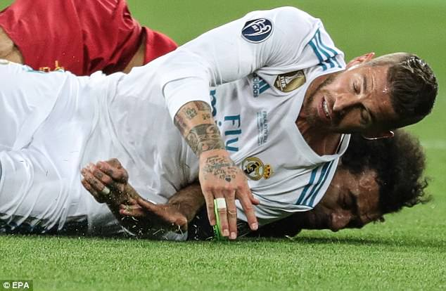 The Egyptian suffered a worrying shoulder injury and had to go off in the first half of the final