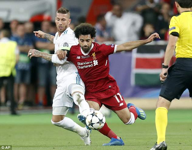Salah suffered the shoulder injury when fouled by Sergio Ramos in the Champions League final