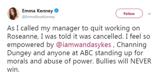 Emma Kenney, who played Sara Gilbert's daughter on the show, revealed on Twitter that she planned to quit before finding out the show had been cancelled