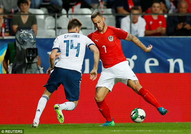 West Ham forward Mark Arnautovic played a key role as Austria beat Russia on Wednesday