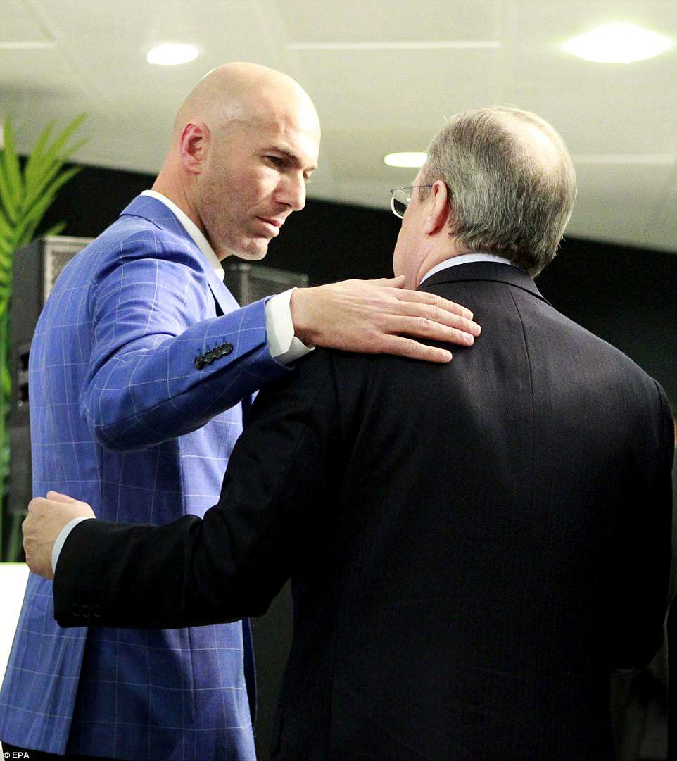Zidane consoles Perez after the press conference as the search begins for his successor as manager of Real Madrid