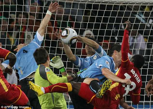 Luis Suarez denied Ghana a winning goal at the end of extra-time after a handball on the line