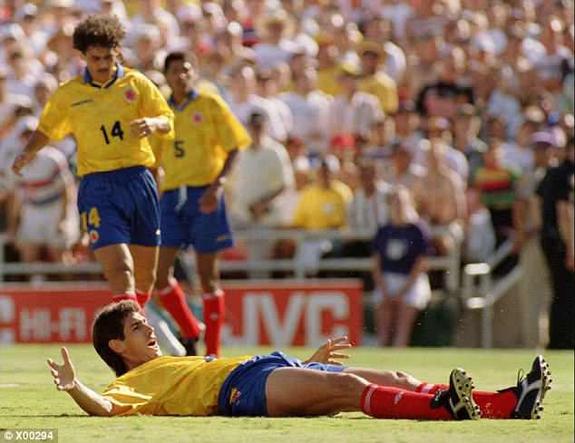 Andres Escobar scored an own goal against the USA as Colombia crashed out of the World Cup
