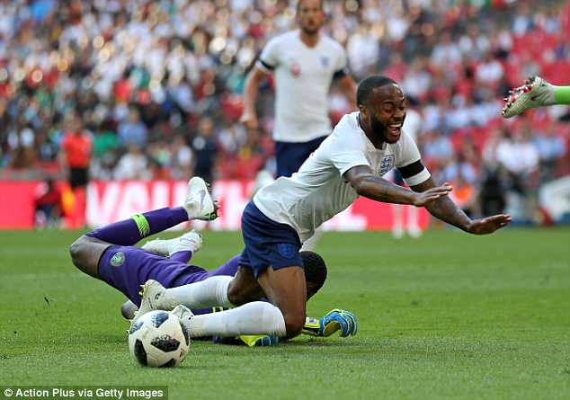 Sterling was rightly booked for diving after going down without contact from the goalkeeper