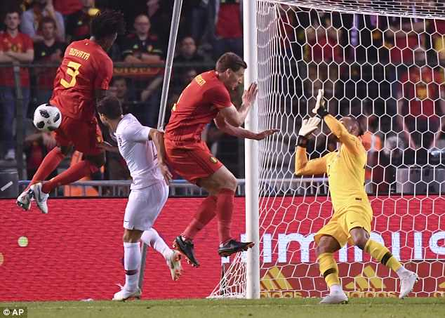 Portugal goalkeeper Beto deflects a shot away with Belgium struggling to create chances