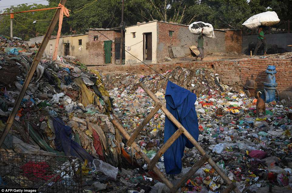 Used to the filth, residents say they are resigned to their fate with one waste dealer saying: 'It's like living in hell. You can see there is plastic garbage everywhere'