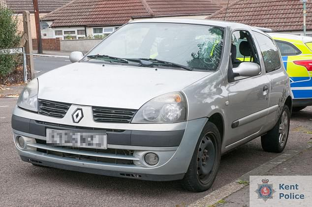 Kyle was sat alone in this Renault Clio before the fatal attack