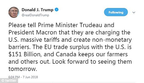 President Trump sat the tone for his meeting with world leaders with a tweet on Thursday