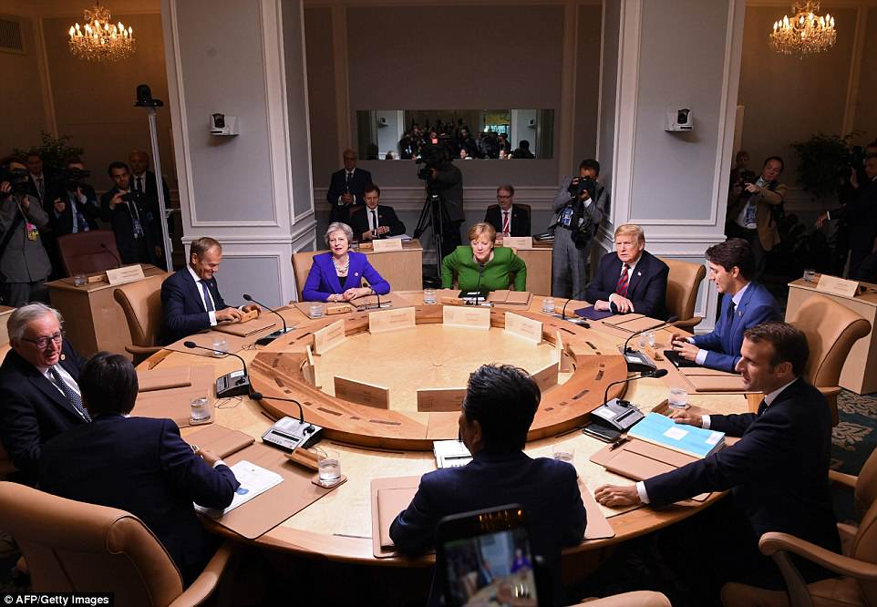 Down to work: Seated clockwise from top center: German Chancellor Angela Merkel; US President Donald Trump; Canadian Prime Minister Justin Trudeau; French President Emmanuel Macron; Japanese Prime Minister Shinzo Abe; Italian Prime Minister Giuseppe Conte; President of the European Commission Jean-Claude Juncker; President of the European Council Donald Tusk; and British Prime Minister Theresa May