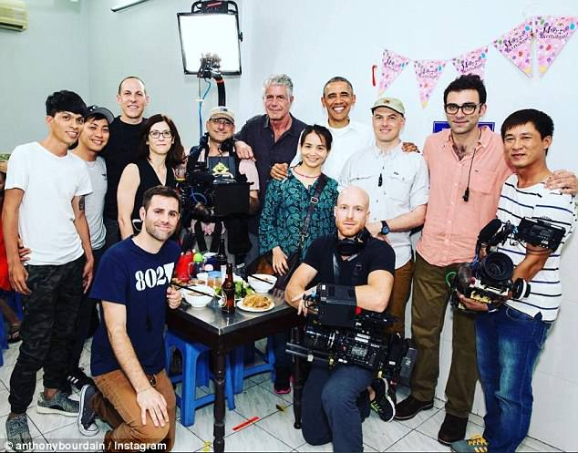 Bourdain posted a picture of the Parts Unknown crew 'and special guest' Obama at the restaurant after the interview was taped