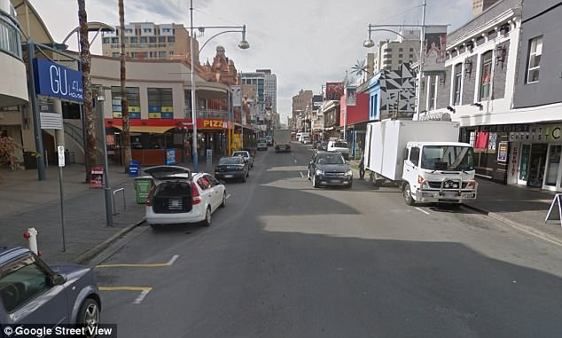 The busy Adelaide street (pictured during the day) was closed for an hour after the incident