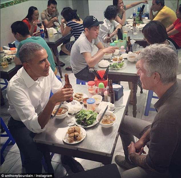 The late Anthony Bourdain posted this snapshot of himself, sitting down for bun cha in a restaurant in Vietnam, with then-President Obama in 2016
