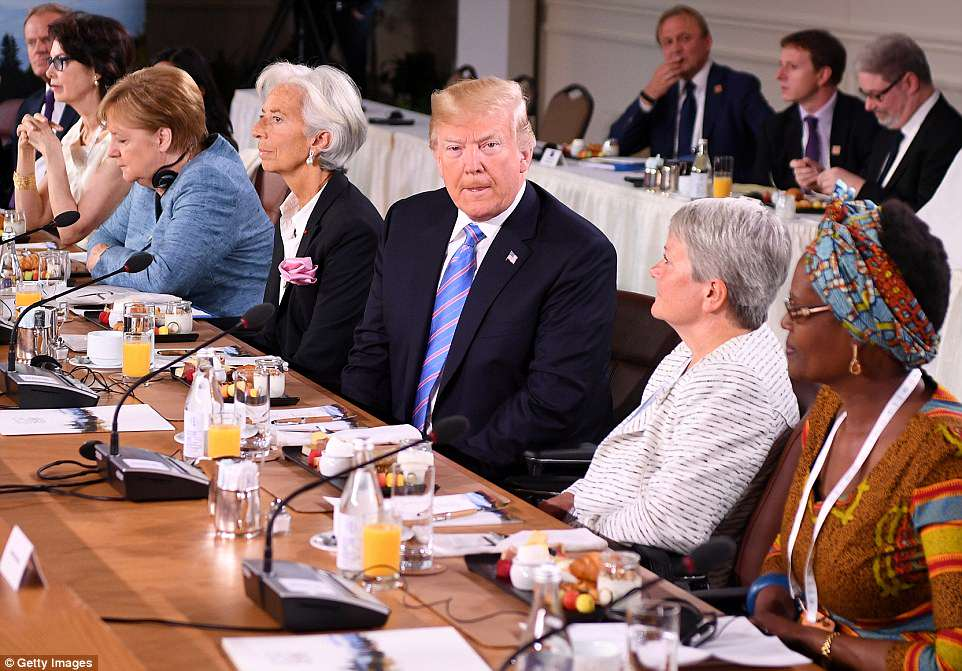Left to right: European Union Council President Donald Tusk, Dayle Haddon, Christine Lagarde, US President Donald Trump, Christine Whitecross and Winnie Byanyima during the Gender Equality Advisory Council working breakfast on Saturday