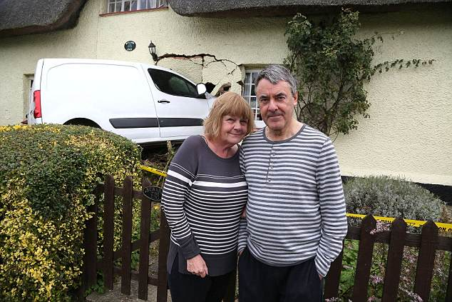 Steven and Val Fossey, who were about to go to bed when the van smashed into their home, where they have lived for 14 years