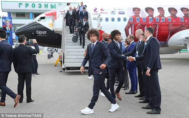 The Egyptian squad landed in Grozny, south Russia, where they will be based for the duration