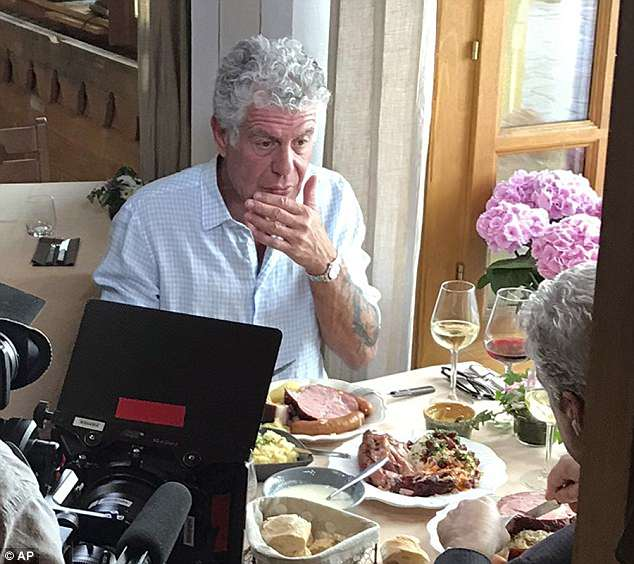 Anthony Bourdain, pictured on June 4, hanged himself on Friday in his hotel room in Kaysersberg, France