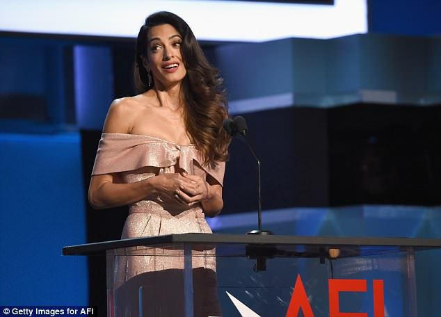 Amal Clooney speaks a the Life Achievement Award Gala Tribute to her husband George