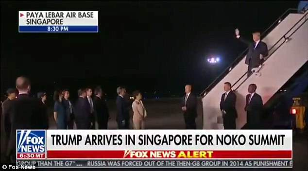 Fox & Friends co-host Abby Huntsman called President Donald Trump 'a dictator'  as TV footage showed the Republican landing in Singapore for a summit with Kim Jong-un on Tuesday